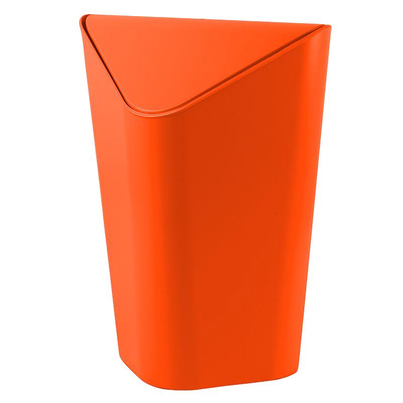 Контейнер для мусора Umbra Corner, цвет: оранжевый, 10 л531-105Отсутствие пространства - проблема вашего дома? Ничего, ведь есть компактная и удобная корзина для мусора, которая сэкономит место даже в самых маленьких помещениях.Ванная комната, туалет, кабинет или кухня - уголок найдется везде. Удобная качающаяся крышка обеспечивает простоту использования и очистки корзины. Пожалуй, вы сами удивитесь, как обходились без такой удобной вещи!Объем: 10 литров.