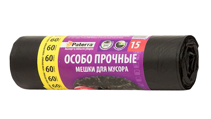 Мешки для мусора Paterra Особо прочные, 60 л, 15 штRC-100BPCМешки Paterra Особо прочные, выполненные извысокопрочного и эластичного полиэтилена, обеспечатчистоту и гигиену в квартире. Изделия обладают повышенной толщиной, поэтому они не рвутся при нагрузке и при контакте с острыми краями мусора. А крестовидное дно позволяет мешкам выдерживать большой вес, перераспределяя нагрузку равномерно. Они удобны для сбора иутилизации мусора, занимают мало места, практичны в использовании. Благодаря удобным размерам, мешки легко вкладываются в ведро.Количество: 15 шт.Размер мешка: 60 х 80 см.