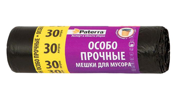 Мешки для мусора Paterra Особо прочные, 30 л, 20 шт3802Мешки Paterra Особо прочные, выполненные извысокопрочного и эластичного полиэтилена, обеспечатчистоту и гигиену в квартире. Изделия обладают повышенной толщиной, поэтому они не рвутся при нагрузке и при контакте с острыми краями мусора. А крестовидное дно позволяет мешкам выдерживать большой вес, перераспределяя нагрузку равномерно. Они удобны для сбора иутилизации мусора, занимают мало места, практичны в использовании. Благодаря удобным размерам, мешки легко вкладываются в ведро.Количество: 20 шт.Размер мешка: 52 х 57 см.