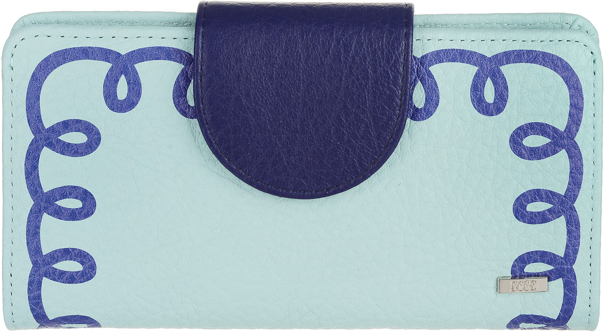 Кошелек женский Esse Мона, цвет: мята, синий. GMNA00-00KN00-FJ638O-K100MX3024820_WM_SHL_010Большой кошелек-купюрник, закрывающийся на хлястик. Внутри 4 отделения для купюр, 2 открытых кармана, 10 прорезных карманов для кредитных карт, отделение для мелочи, закрывающееся на молнию, пластиковое окно