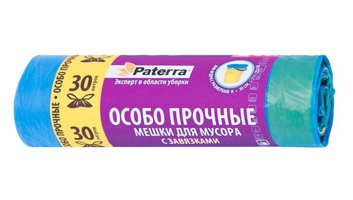 Мешки для мусора Paterra Особо прочные, с завязками, 35 л, 20 штSVC-300Мешки Paterra Особо прочные, выполненные из высокопрочного и эластичного полиэтилена, обеспечат чистоту и гигиену в квартире. Изделия обладают повышенной толщиной, поэтому они не рвутся при нагрузке и при контакте с острыми краями мусора. А крестовидное дно позволяет мешкам выдерживать большой вес, перераспределяя нагрузку равномерно. Они удобны для сбора и утилизации мусора, занимают мало места, практичны в использовании. Благодаря прочным завязкам, изделия удобны в переноске.Количество: 20 шт.Размер мешка: 52 х 57 см.