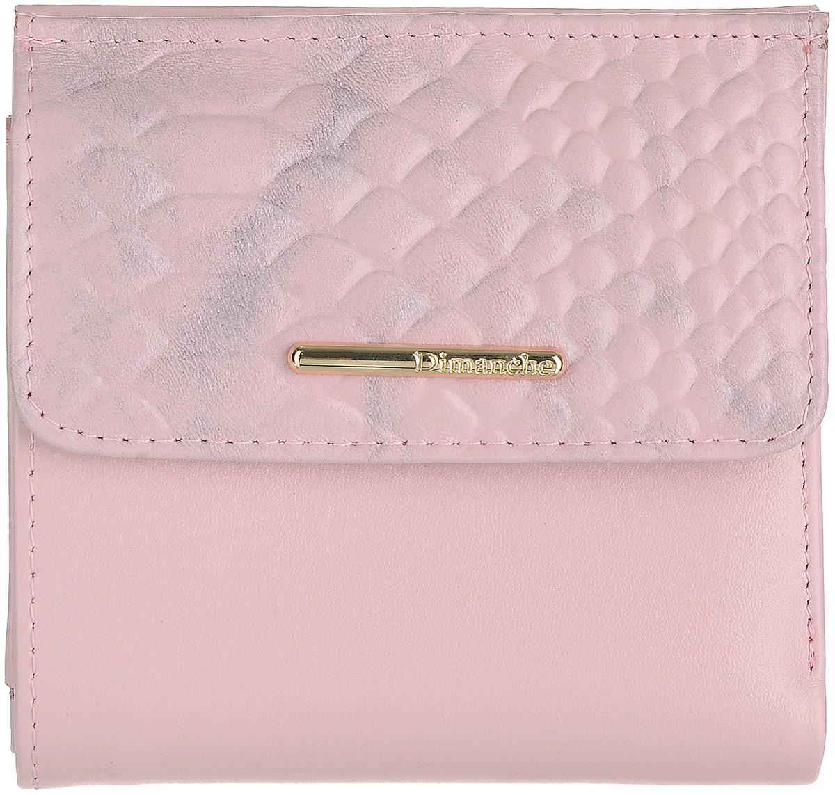 Кошелек женский Dimanche, цвет: серо-розовый. 792JC50-63278Кошелек Dimanche выполнен из натуральной тисненой кожи и оформлен декоративной пластиной с названием бренда. На лицевой стороне расположен объемный карман для мелочи, который закрывается клапаном с кнопкой. Внутри расположено два открытых кармана для купюр, карман для купюр на молнии, два кармана для кредиток, карман для sim-карты, карман с пластиковым окошком для документов и два вертикальных кармана.