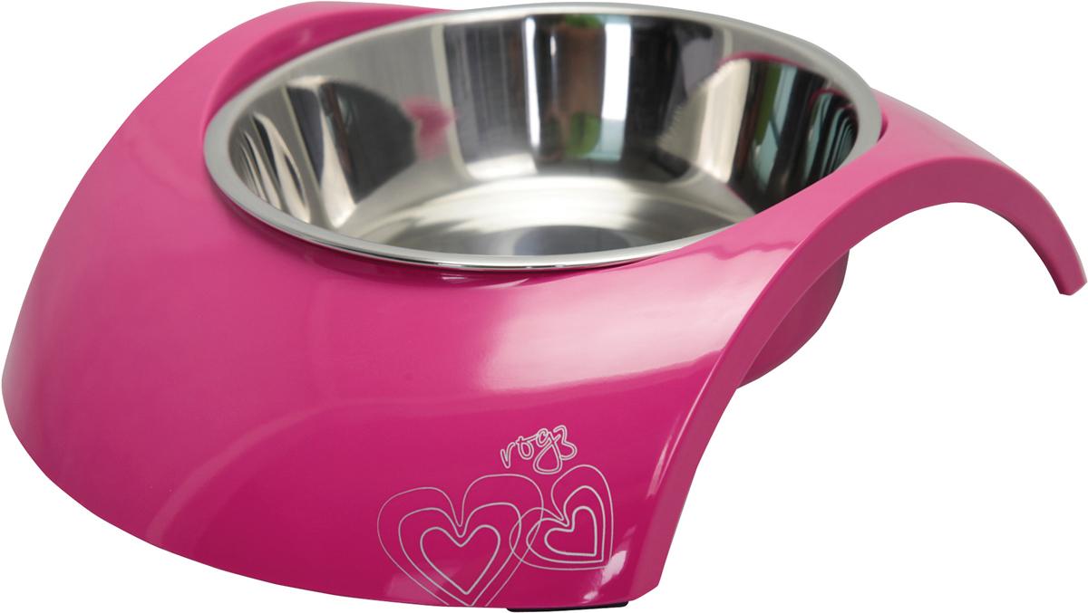 Миска для собак Rogz Luna, цвет: розовый, 350 мл0120710Миска для собак Rogz Luna 2 в 1: корпус из меламина и вынимаемая миска из нержавеющей стали.Оригинальный дизайн.Ударопрочный материал изделия нетоксичен и полностью отвечает всем гигиеническим требованиям.Высокая защита от коррозии и воздействия УФ-лучей.Основание миски выполнено из натурального, нетоксичного силикона, что позволяет избежать скольжения по полу.Возможна мойка в посудомоечной машине. Материал: нержавеющая сталь, меламин, силикон (дно).