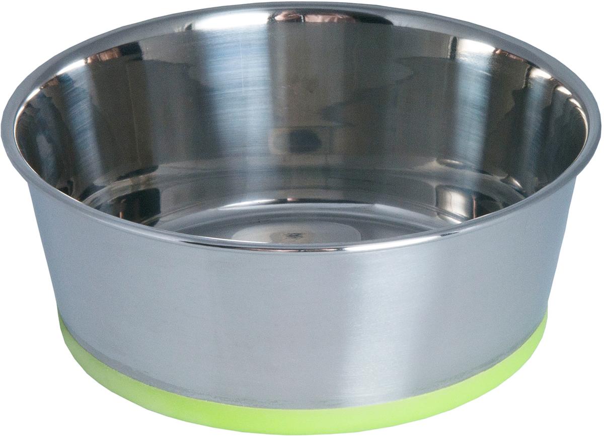 Миска для собак Rogz Slurp, цвет: зеленый, с противоскользащим дном, 650 мл0120710Миска для собак Rogz Slurp выполнена из нержавеющей стали с противоскользящим дном, покрытым цветным силиконом.Миску легко мыть, 100% безопасность.Материал изделия нетоксичен и полностью отвечает всем гигиеническим требованиям.Ударопрочный материал.Защита от коррозии и воздействия УФ-лучей.Натуральный нетоксичный силикон в основании, позволяющий избежать скольжения по полу.Возможна мойка в посудомоечной машине. Материал: нержавеющая сталь, силикон.