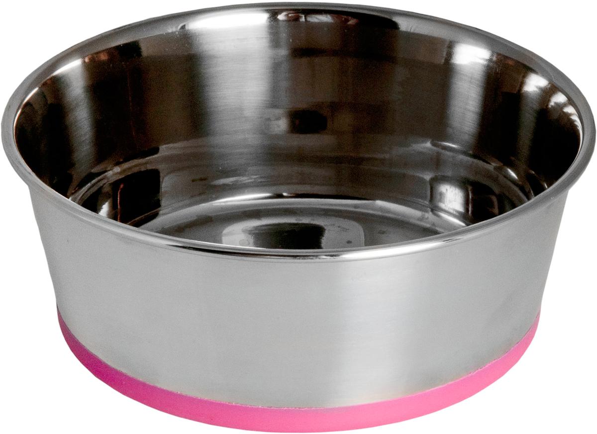 Миска для собак Rogz Slurp, цвет: розовый, с противоскользащим дном, 1,7 л0120710Миска для собак Rogz Slurp выполнена из нержавеющей стали с противоскользящим дном, покрытым цветным силиконом.Миску легко мыть, 100% безопасность.Материал изделия нетоксичен и полностью отвечает всем гигиеническим требованиям.Ударопрочный материал.Защита от коррозии и воздействия УФ-лучей.Натуральный нетоксичный силикон в основании, позволяющий избежать скольжения по полу.Возможна мойка в посудомоечной машине. Материал: нержавеющая сталь, силикон.