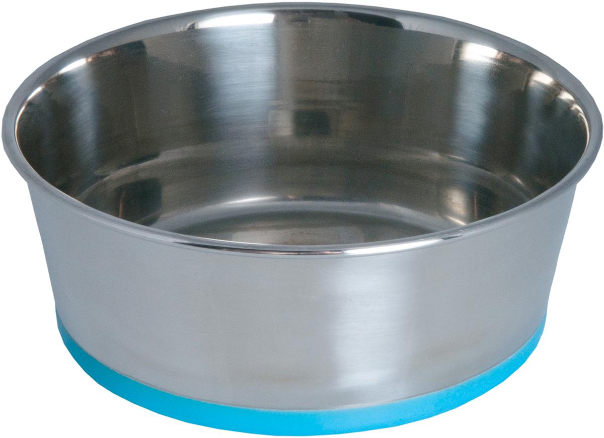 Миска для собак Rogz Slurp, цвет: синий, с противоскользащим дном, 650 мл0120710Миска из нержавеющей стали с противоскользящим дном, покрытым цветным силиконом.Миску легко мыть, 100% безопасность.Материал изделия нетоксичен и полностью отвечает всем гигиеническим требованиям.Ударопрочный материал.Защита от коррозии и воздействия УФ-лучей.Натуральный нетоксичный силикон в основании, позволяющий избежать скольжения по полу.Возможна мойка в посудомоечной машине. Нержавеющая сталь, силикон