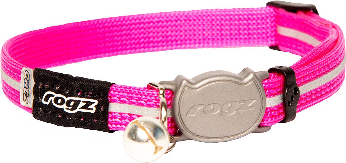 Ошейник для кошек Rogz AlleyCat, цвет: розовый, ширина 11 мм. Размер SCB16KОшейник для кошек Rogz AlleyCat имеет безопасную, легко раскрывающуюся застежку, которая не повредит шерстку кошки. Специально разработанный замок легко расстегивается при натяжении, если это необходимо. Например, если ваш питомец застрял на дереве или на заборе.Ошейник обладает уникальной системой, присущей только продукции Rogz для кошек, позволяющей регулировать степень легкости раскрытия замка при различных нагрузках на замок (в зависимости от размера, веса и степени активности животного).Использованные в изделиях светоотражающие материалы обеспечивают хорошую видимость животного в темное время суток, а значит - его безопасность.