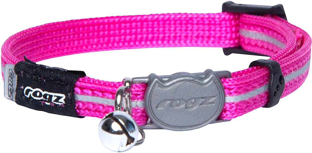 Ошейник для кошек Rogz AlleyCat, цвет: розовый, ширина 8 мм. Размер XS0120710Ошейник для кошек Rogz AlleyCat имеет безопасную, легко раскрывающуюся застежку, которая не повредит шерстку кошки. Специально разработанный замок легко расстегивается при натяжении, если это необходимо. Например, если ваш питомец застрял на дереве или на заборе.Ошейник обладает уникальной системой, присущей только продукции Rogz для кошек, позволяющей регулировать степень легкости раскрытия замка при различных нагрузках на замок (в зависимости от размера, веса и степени активности животного).Использованные в изделиях светоотражающие материалы обеспечивают хорошую видимость животного в темное время суток, а значит - его безопасность.