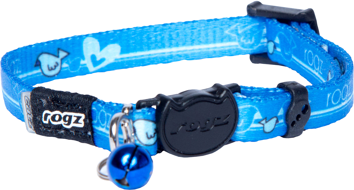Ошейник для кошек Rogz KiddyCat, цвет: голубой, ширина 8 мм. Размер XSро16чОшейник для кошек Rogz KiddyCat обладает уникальной системой, присущей только продукции Rogz, позволяющей регулировать степень легкости раскрытия замка при различных нагрузках на замок (в зависимости от размера, веса и степени активности животного). Специально разработанный замок легко расстегивается при натяжении, если это необходимо. Например, если ваш питомец застрял на дереве или на заборе.