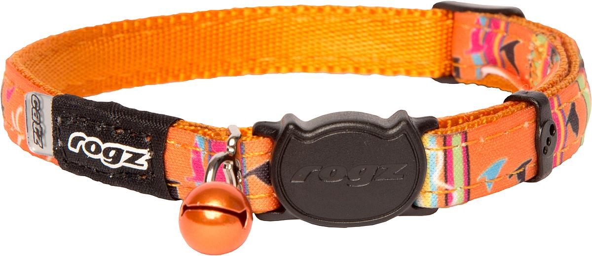 Ошейник для кошек Rogz NeoCat, цвет: оранжевый, ширина 11 мм. Размер S12171996Ошейник для кошек Rogz NeoCat обладает уникальной системой, присущей только продукции Rogz, позволяющей регулировать степень легкости раскрытия замка при различных нагрузках на замок (в зависимости от размера, веса и степени активности животного).Специально разработанный замок легко расстегивается при натяжении, если это необходимо. Например, если ваш питомец застрял на дереве или на заборе.