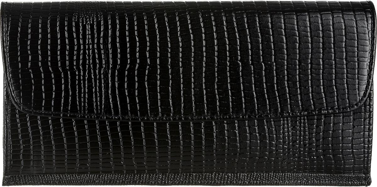 Портмоне женское Befler, цвет: черный. PJ.41.-31900671-5605Женское портмоне Befler выполненное из натуральной кожи черного цвета, украшено декоративным тиснением под кожу ящерицы. Внутри портмоне состоит из одного большого отделения для купюр, четырех накладных текстильных карманов для визиток или кредитных карт, кармана для мелочи на застежке-молнии и скрытого кармана для мелких бумаг. Закрывается широким клапаном на металлическую кнопку.Такое портмоне станет отличным подарком для человека, ценящего качественные и необычные вещи. Характеристики: Цвет: черный. Размер: 19 см x 9,5 см x 1,5 см. Материал: натуральная кожа, текстиль, металл. Производитель: Россия. Артикул: PJ.41.-3.