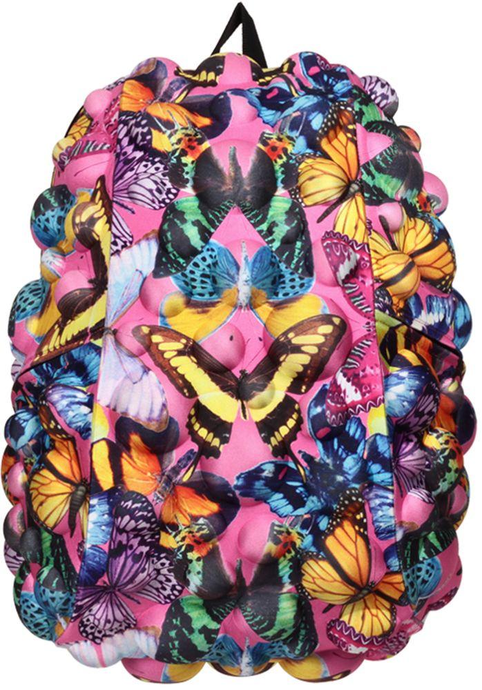 Рюкзак городской MadPax Bubble Full. Butterfly, 32 л1627.254MadPax Bubble Full - это рюкзак в стиле фанк, которые своим неповторимым дизайном бросают вызов монотонности и скуке. Эти уникальные рюкзаки помогают детям всех возрастов самовыражаться, а их внутренняя структура с отделениями, карманами и застежками-молниями делает их невероятно практичными.Городской рюкзак MadPax Bubble Full - это стильный и практичный аксессуар, который станет незаменимым в ритме большого города.Рюкзак имеет одно основное отделение на застежке-молнии с двумя бегунками. Бегунки застежки дополнены металлическими держателями.Внутри отделения находится мягкий карман для ноутбука размером до 15.6 дюймов, закрывающийся хлястиком на липучке. Также внутри находится небольшой карман на молнии.Рюкзак имеет два прорезных боковых кармана, закрывающиеся на застежки-молнии. Сзади расположен прозрачный кармашек для визитки.Модель оснащена ручкой для переноски в руке, а также широкими плечевыми лямками, которые можно регулировать по длине. Специальная застежка-крепление соединяет и фиксирует лямки в районе груди, это позволяет равномерно распределить нагрузку на плечи и спину при максимальной загрузке рюкзака.Конструкция спинки дополнена эргономичными подушечками, противоскользящей сеточкой и системой вентиляции для предотвращения запотевания спины. Мягкая ортопедическая спинка создает дополнительный комфорт вашей спине и делает ношение рюкзака более удобным.