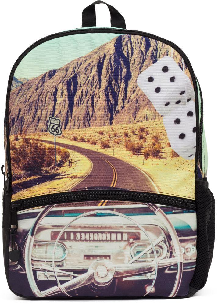 Рюкзак городской Mojo Pax Classic Crusin, 20 лKAB9985240Городской рюкзак Mojo Pax — для тех, кто привык размышлять и видеть в простых вещах — сложные. Принт приятного спокойного оттенка смотрится еще более загадочно и притягательно. На нем изображены - пустынная дорога, знак, предостерегающий путешественника и могущественный каньон. Рюкзак имеет несколько удобных отделений, в том числе — карман для планшетного компьютера. У него усиленная спинка и дно рюкзака, мягкие удобные регулируемые лямки.Размер: 43 x 30 x 16 см.