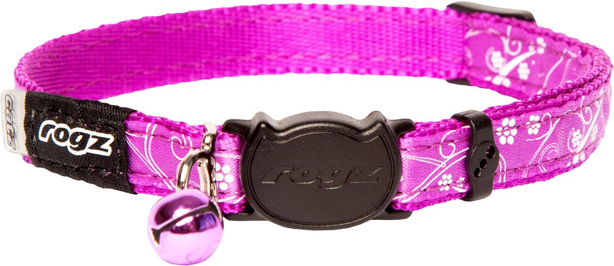 Ошейник для кошек Rogz SilkyCat, цвет: розовый, ширина 11 мм. Размер SCB42EОшейник Rogz SilkyCat обладает уникальной системой, присущей только продукции Rogz для кошек, позволяющей регулировать степень легкости раскрытия замка при различных нагрузках на замок (в зависимости от размера, веса и степени активности животного).Специально разработанный замок легко расстегивается при натяжении, если это необходимо. Например, если ваш питомец застрял на дереве или на заборе.