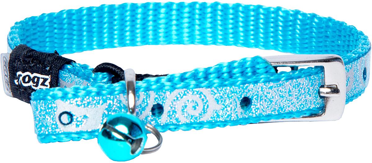 Ошейник для кошек Rogz SparkleCat, цвет: голубой, ширина 8 мм0120710Ошейник для кошек Rogz SparkleCat имеет мягкую внутреннюю подкладку.Специально разработанный замок легко расстегивается при натяжении, если это необходимо. Например, если ваш питомец застрял на дереве или на заборе.Каждый ошейник обладает уникальной системой, присущей только продукции Rogz для кошек, позволяющей регулировать степень легкости раскрытия замка при различных нагрузках на замок (в зависимости от размера, веса и степени активности животного).