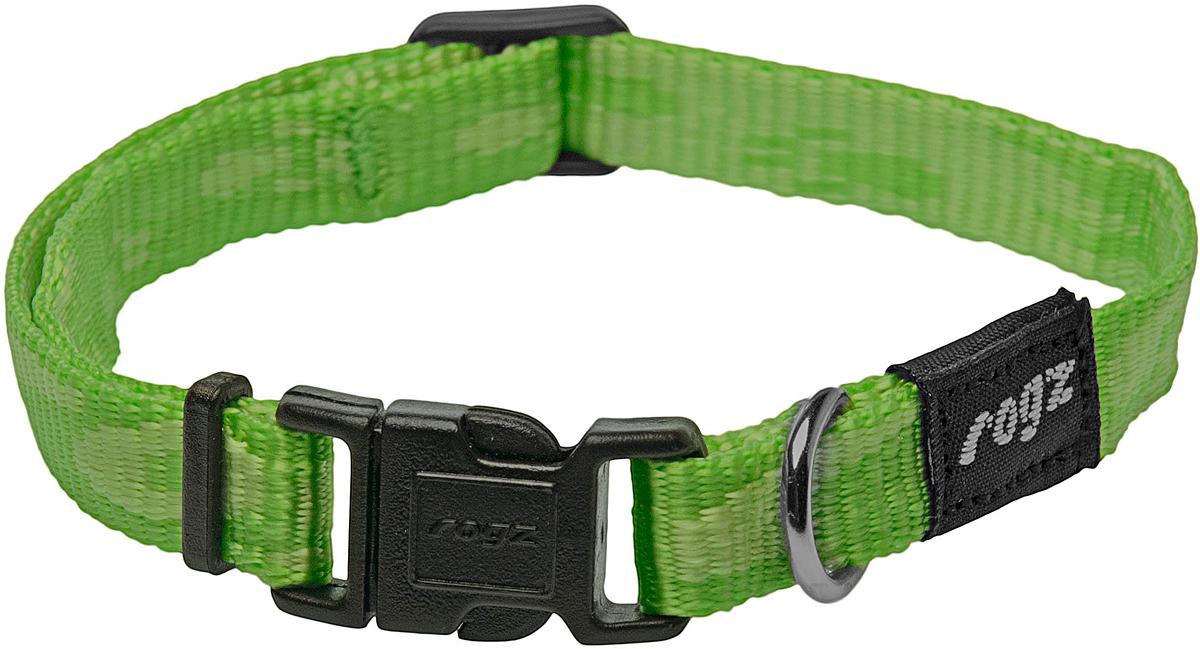Ошейник для собак Rogz Alpinist, цвет: зеленый, ширина 1,6 см. Размер M0120710Ошейник для собак Rogz Alpinist представляет собой мягкую нейлоновую ленту, которая обладает высокой прочностью. Особое плетение полотна способствует увеличению уровня прочности и защиты. Специальная конструкция пряжки Rog Loc - очень крепкая (система Fort Knox). Замок может быть расстегнут только рукой человека. Технология распределения нагрузки позволяет снизить нагрузку на пряжки, изготовленные из титанового пластика, с помощью правильного и разумного расположения грузовых колец.Особые контурные пластиковые компоненты. Специальная округлая форма конструкции позволяет ошейнику комфортно облегать шею собаки.Выполненные специально по заказу Rogz литые кольца гальванически хромированы, что позволяет избежать коррозии и потускнения изделия.