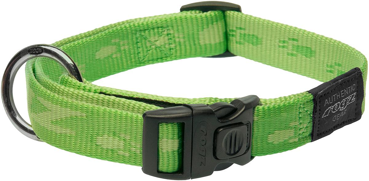 Ошейник для собак Rogz Alpinist, цвет: зеленый, ширина 2 см. Размер LHB25GОшейник для собак Rogz Alpinist представляет собой мягкую нейлоновую ленту, которая обладает высокой прочностью. Особое плетение полотна способствует увеличению уровня прочности и защиты. Специальная конструкция пряжки Rog Loc - очень крепкая (система Fort Knox). Замок может быть расстегнут только рукой человека. Технология распределения нагрузки позволяет снизить нагрузку на пряжки, изготовленные из титанового пластика, с помощью правильного и разумного расположения грузовых колец.Особые контурные пластиковые компоненты. Специальная округлая форма конструкции позволяет ошейнику комфортно облегать шею собаки.Выполненные специально по заказу Rogz литые кольца гальванически хромированы, что позволяет избежать коррозии и потускнения изделия.
