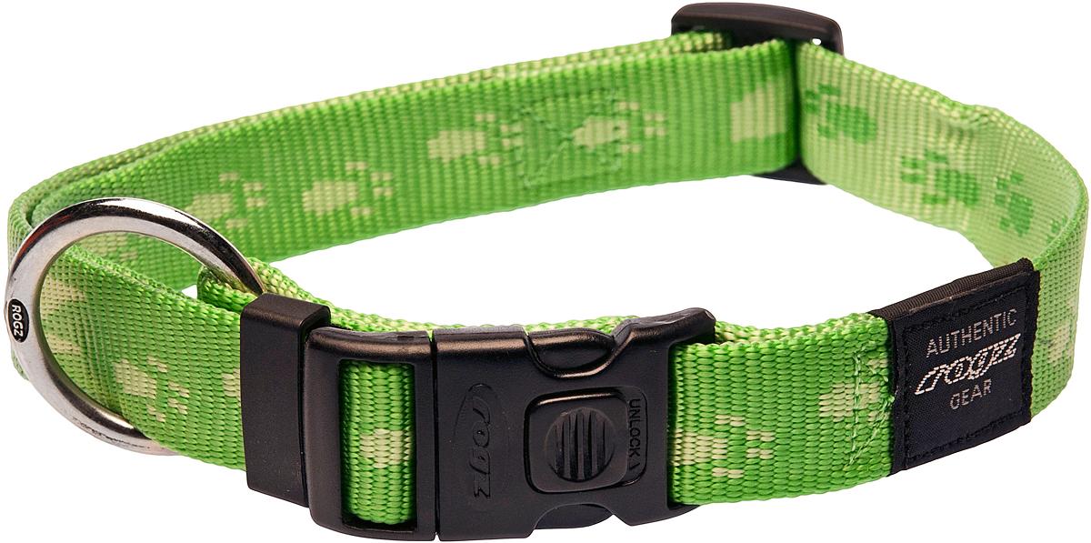 Ошейник для собак Rogz Alpinist, цвет: зеленый, ширина 2,5 см. Размер XL0120710Ошейник для собак Rogz Alpinist представляет собой мягкую нейлоновую ленту, которая обладает высокой прочностью. Особое плетение полотна способствует увеличению уровня прочности и защиты. Специальная конструкция пряжки Rog Loc - очень крепкая (система Fort Knox). Замок может быть расстегнут только рукой человека. Технология распределения нагрузки позволяет снизить нагрузку на пряжки, изготовленные из титанового пластика, с помощью правильного и разумного расположения грузовых колец.Особые контурные пластиковые компоненты. Специальная округлая форма конструкции позволяет ошейнику комфортно облегать шею собаки.Выполненные специально по заказу Rogz литые кольца гальванически хромированы, что позволяет избежать коррозии и потускнения изделия.