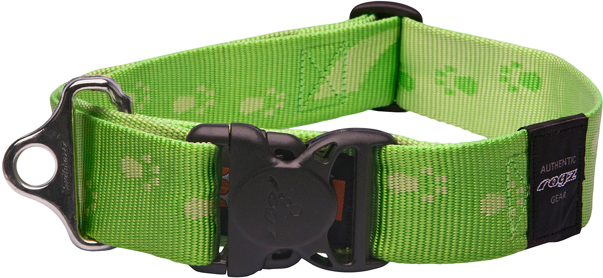 Ошейник для собак Rogz Alpinist, цвет: зеленый, ширина 4 см. Размер XXL0120710Ошейник для собак Rogz Alpinist представляет собой мягкую нейлоновую ленту, которая обладает высокой прочностью. Особое плетение полотна способствует увеличению уровня прочности и защиты. Специальная конструкция пряжки Rog Loc - очень крепкая (система Fort Knox). Замок может быть расстегнут только рукой человека. Технология распределения нагрузки позволяет снизить нагрузку на пряжки, изготовленные из титанового пластика, с помощью правильного и разумного расположения грузовых колец.Особые контурные пластиковые компоненты. Специальная округлая форма конструкции позволяет ошейнику комфортно облегать шею собаки.Выполненные специально по заказу Rogz литые кольца гальванически хромированы, что позволяет избежать коррозии и потускнения изделия.
