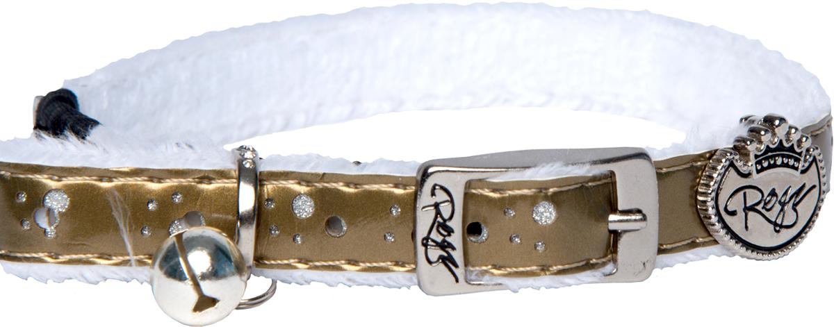 Ошейник для кошек Rogz TrendyCat, цвет: золотистый, ширина 11 мм. Размер S12171996Ошейник для кошек Rogz TrendyCat имеет мягкую внутреннюю подкладку.Специально разработанный замок легко расстегивается при натяжении, если это необходимо. Например, если ваш питомец застрял на дереве или на заборе.Каждый ошейник обладает уникальной системой, присущей только продукции Rogz для кошек, позволяющей регулировать степень легкости раскрытия замка при различных нагрузках на замок (в зависимости от размера, веса и степени активности животного).