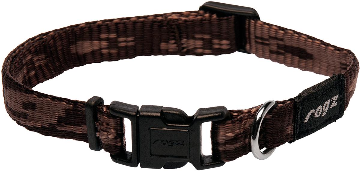 Ошейник для собак Rogz Alpinist, цвет: коричневый, ширина 1,1 см. Размер S0120710Ошейник для собак Rogz Alpinist представляет собой мягкую нейлоновую ленту, которая обладает высокой прочностью. Особое плетение полотна способствует увеличению уровня прочности и защиты. Специальная конструкция пряжки Rog Loc - очень крепкая (система Fort Knox). Замок может быть расстегнут только рукой человека. Технология распределения нагрузки позволяет снизить нагрузку на пряжки, изготовленные из титанового пластика, с помощью правильного и разумного расположения грузовых колец.Особые контурные пластиковые компоненты. Специальная округлая форма конструкции позволяет ошейнику комфортно облегать шею собаки.Выполненные специально по заказу Rogz литые кольца гальванически хромированы, что позволяет избежать коррозии и потускнения изделия.