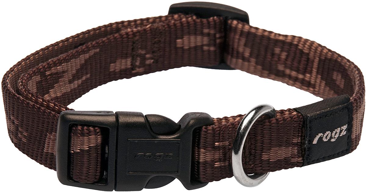 Ошейник для собак Rogz Alpinist, цвет: коричневый, ширина 1,6 см. Размер M0120710Ошейник для собак Rogz Alpinist представляет собой мягкую нейлоновую ленту, которая обладает высокой прочностью. Особое плетение полотна способствует увеличению уровня прочности и защиты. Специальная конструкция пряжки Rog Loc - очень крепкая (система Fort Knox). Замок может быть расстегнут только рукой человека. Технология распределения нагрузки позволяет снизить нагрузку на пряжки, изготовленные из титанового пластика, с помощью правильного и разумного расположения грузовых колец.Особые контурные пластиковые компоненты. Специальная округлая форма конструкции позволяет ошейнику комфортно облегать шею собаки.Выполненные специально по заказу Rogz литые кольца гальванически хромированы, что позволяет избежать коррозии и потускнения изделия.
