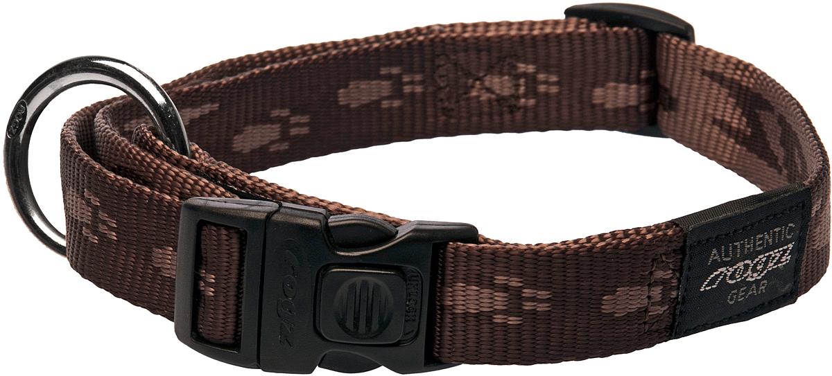 Ошейник для собак Rogz Alpinist, цвет: коричневый, ширина 2 см. Размер L12171996Ошейник для собак Rogz Alpinist представляет собой мягкую нейлоновую ленту, которая обладает высокой прочностью. Особое плетение полотна способствует увеличению уровня прочности и защиты. Специальная конструкция пряжки Rog Loc - очень крепкая (система Fort Knox). Замок может быть расстегнут только рукой человека. Технология распределения нагрузки позволяет снизить нагрузку на пряжки, изготовленные из титанового пластика, с помощью правильного и разумного расположения грузовых колец.Особые контурные пластиковые компоненты. Специальная округлая форма конструкции позволяет ошейнику комфортно облегать шею собаки.Выполненные специально по заказу Rogz литые кольца гальванически хромированы, что позволяет избежать коррозии и потускнения изделия.