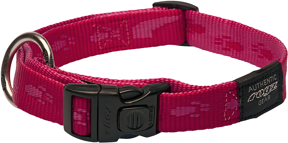 Ошейник для собак Rogz Alpinist, цвет: розовый, ширина 2 см. Размер L0120710Ошейник для собак Rogz Alpinist представляет собой мягкую нейлоновую ленту, которая обладает высокой прочностью. Особое плетение полотна способствует увеличению уровня прочности и защиты. Специальная конструкция пряжки Rog Loc - очень крепкая (система Fort Knox). Замок может быть расстегнут только рукой человека. Технология распределения нагрузки позволяет снизить нагрузку на пряжки, изготовленные из титанового пластика, с помощью правильного и разумного расположения грузовых колец.Особые контурные пластиковые компоненты. Специальная округлая форма конструкции позволяет ошейнику комфортно облегать шею собаки.Выполненные специально по заказу Rogz литые кольца гальванически хромированы, что позволяет избежать коррозии и потускнения изделия.
