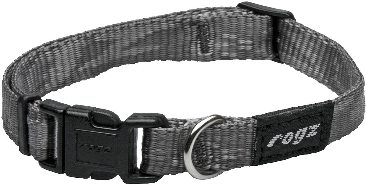 Ошейник для собак Rogz Alpinist, цвет: серый, ширина 1,6 см. Размер M0120710Ошейник для собак Rogz Alpinist представляет собой мягкую нейлоновую ленту, которая обладает высокой прочностью. Особое плетение полотна способствует увеличению уровня прочности и защиты. Специальная конструкция пряжки Rog Loc - очень крепкая (система Fort Knox). Замок может быть расстегнут только рукой человека. Технология распределения нагрузки позволяет снизить нагрузку на пряжки, изготовленные из титанового пластика, с помощью правильного и разумного расположения грузовых колец.Особые контурные пластиковые компоненты. Специальная округлая форма конструкции позволяет ошейнику комфортно облегать шею собаки.Выполненные специально по заказу Rogz литые кольца гальванически хромированы, что позволяет избежать коррозии и потускнения изделия.