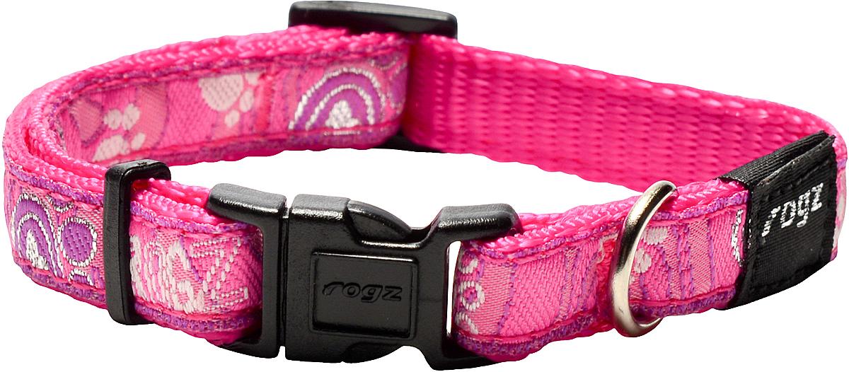 Ошейник для собак Rogz Fancy Dress, цвет: розовый, ширина 1,1 см101246Ошейник для собак Rogz Fancy Dress имеет необычный дизайн. Широкая гамма потрясающе красивых орнаментов на прочной тесьме поверх нейлоновой ленты украсит вашего питомца. Специальная конструкция пряжки Rog Loc - очень крепкая (система Fort Knox). Замок может быть расстегнут только рукой человека. Технология распределения нагрузки позволяет снизить нагрузку на пряжки, изготовленные из титанового пластика, с помощью правильного и разумного расположения грузовых колец.Особые контурные пластиковые компоненты. Специальная округлая форма конструкции позволяет ошейнику комфортно облегать шею собаки. Выполненные по заказу литые кольца имеют хромирование, нанесенное гальваническим способом, что позволяет избежать коррозии и потускнения изделия.
