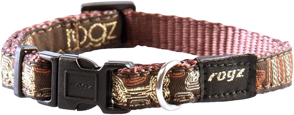 Ошейник для собак Rogz Fancy Dress, цвет: коричневый, ширина 1,6 смDM-160289-2Ошейник для собак Rogz Fancy Dress имеет необычный дизайн. Широкая гамма потрясающе красивых орнаментов на прочной тесьме поверх нейлоновой ленты украсит вашего питомца. Специальная конструкция пряжки Rog Loc - очень крепкая (система Fort Knox). Замок может быть расстегнут только рукой человека. Технология распределения нагрузки позволяет снизить нагрузку на пряжки, изготовленные из титанового пластика, с помощью правильного и разумного расположения грузовых колец.Особые контурные пластиковые компоненты. Специальная округлая форма конструкции позволяет ошейнику комфортно облегать шею собаки. Выполненные по заказу литые кольца имеют хромирование, нанесенное гальваническим способом, что позволяет избежать коррозии и потускнения изделия.
