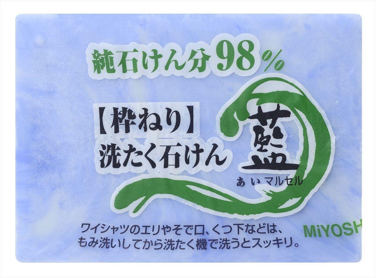 Мыло для стирки Miyoshi Miyosh, для точечного застирывания стойких загрязнений. 2120122202904Мыло специально предназначено для застирывания стойких, застарелых, трудновыводимых пятен ; для стирки одежды с особенно сильными загрязнениями; отличается особой твердостью и длительностью использования, не размокает, не теряет форму за счет использования при мыловарении традиционного омыления натуральных масел и жиров; легко справляется с такими загрязнениями, как грязь, сажа, копоть; подходит для стирки рабочей, спортивной одежды, одежды для активного отдыха, а также для отстирывания воротничков и манжет. Твердое, цвета индиго, со слабо выраженным ароматом.Меры предосторожности: Не используйте средство для иных целей, кроме указанных. Храните в месте недоступном для детей. При попадании в глаза сразу промойте водой. Состав: чистая (без примесей) мыльная основа (натриевая соль с содержанием жирных кислот 98%)