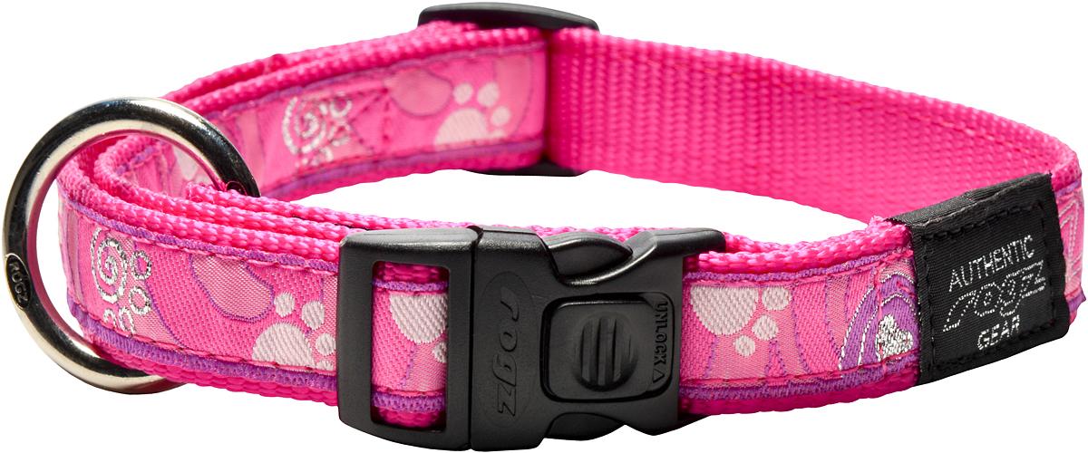 Ошейник для собак Rogz Fancy Dress, цвет: розовый, ширина 2 см0120710Ошейник для собак Rogz Fancy Dress имеет необычный дизайн. Широкая гамма потрясающе красивых орнаментов на прочной тесьме поверх нейлоновой ленты украсит вашего питомца. Специальная конструкция пряжки Rog Loc - очень крепкая (система Fort Knox). Замок может быть расстегнут только рукой человека. Технология распределения нагрузки позволяет снизить нагрузку на пряжки, изготовленные из титанового пластика, с помощью правильного и разумного расположения грузовых колец.Особые контурные пластиковые компоненты. Специальная округлая форма конструкции позволяет ошейнику комфортно облегать шею собаки. Выполненные по заказу литые кольца имеют хромирование, нанесенное гальваническим способом, что позволяет избежать коррозии и потускнения изделия.