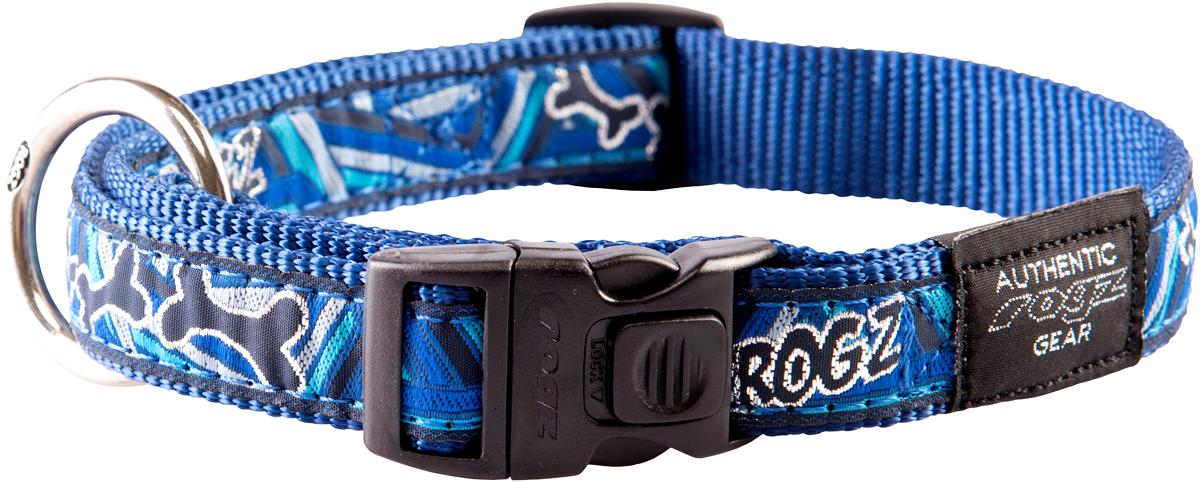 Ошейник для собак Rogz Fancy Dress, цвет: голубой, ширина 2 смHB03CDОшейник для собак Rogz Fancy Dress имеет необычный дизайн. Широкая гамма потрясающе красивых орнаментов на прочной тесьме поверх нейлоновой ленты украсит вашего питомца. Специальная конструкция пряжки Rog Loc - очень крепкая (система Fort Knox). Замок может быть расстегнут только рукой человека. Технология распределения нагрузки позволяет снизить нагрузку на пряжки, изготовленные из титанового пластика, с помощью правильного и разумного расположения грузовых колец.Особые контурные пластиковые компоненты. Специальная округлая форма конструкции позволяет ошейнику комфортно облегать шею собаки. Выполненные по заказу литые кольца имеют хромирование, нанесенное гальваническим способом, что позволяет избежать коррозии и потускнения изделия.