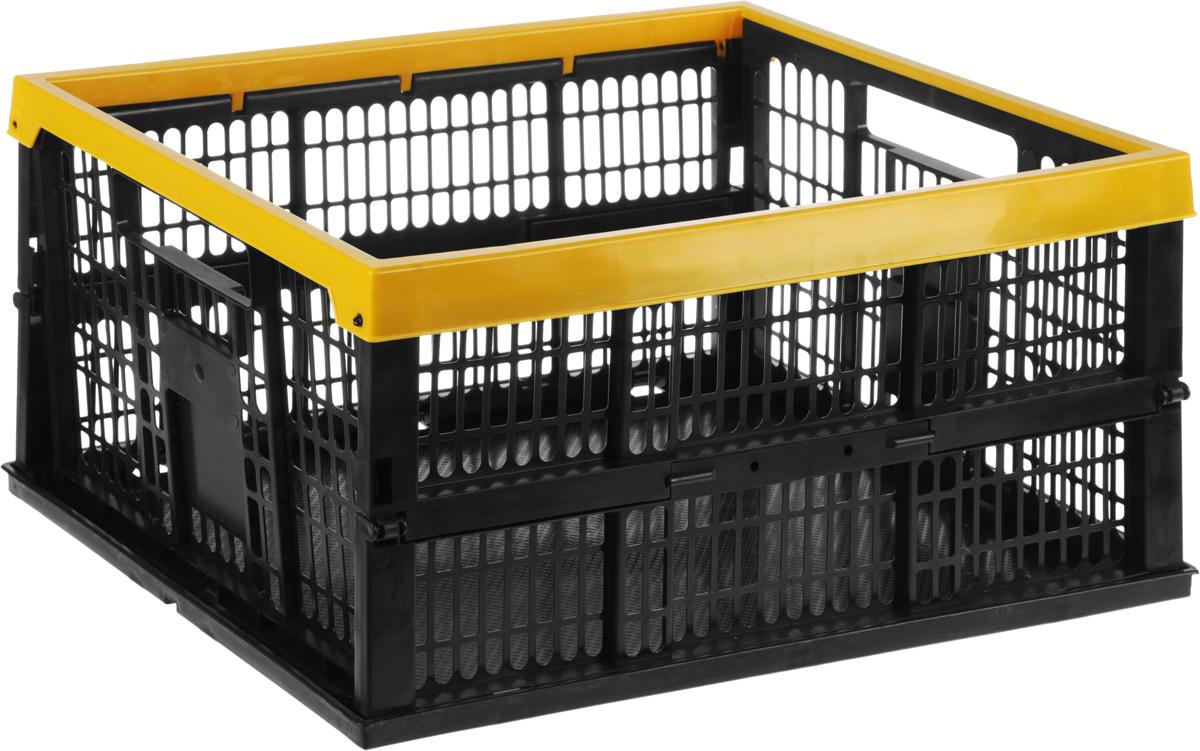 Ящик складной для сбора урожая Garden Show, цвет: черный, желтый, 38 л, 48 х 35 х 24 см531-322Складной ящик Garden Show предназначен для сбора урожая. Выполнен из прочного пластика. За счет складной конструкции ящик занимает мало места.