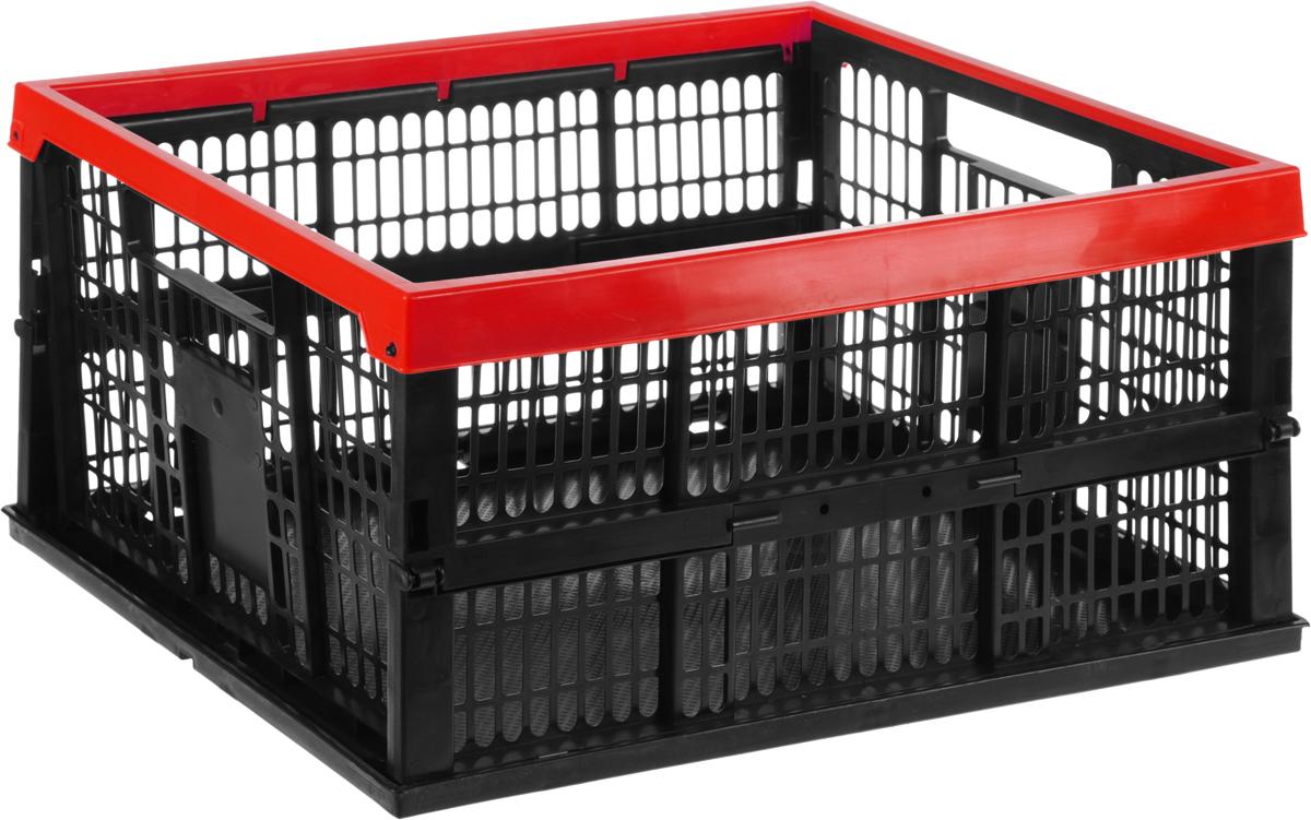 Ящик для сбора урожая Garden Show, складной, цвет: черный, красный, 35 х 48 х 24 см1723832Складной ящик Garden Show прекрасно подойдет для сбора урожая, а также хранения пищевых продуктов, кухонных принадлежностей и различных бытовых предметов. Изделие выполнено из прочного пластика, оснащено перфорированными стенками и сплошным дном. Удобные ручки обеспечивают комфортное использование. Ящик быстро и легко складывается, что позволяет компактно его хранить.Размер ящика (в разложенном виде): 35 х 48 х 24 см.Размер ящика (в собранном виде): 35 х 48 х 5,5 см.Объем: 38 л.