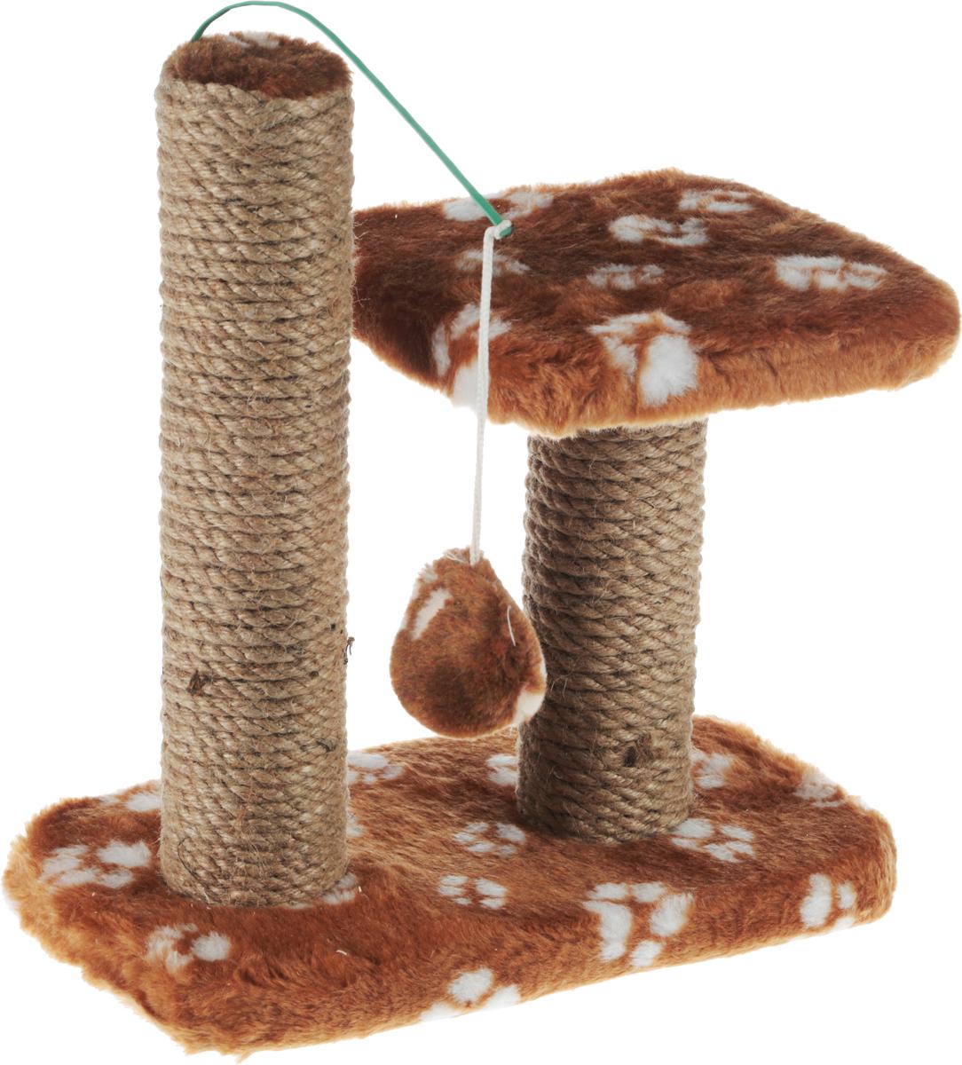 Когтеточка для котят Меридиан, двойная, цвет: коричневый, белый, бежевый, 30 х 20 х 34 см0120710Когтеточка Меридиан предназначена для стачивания когтей вашего котенка и предотвращения их врастания. Она выполнена из ДВП, ДСП и обтянута искусственным мехом. Точатся когти о столбик из джута. Когтеточка оснащена подвесной игрушкой и полкой, на которой котенок сможет отдохнуть.Когтеточка позволяет сохранить неповрежденными мебель и другие предметы интерьера.
