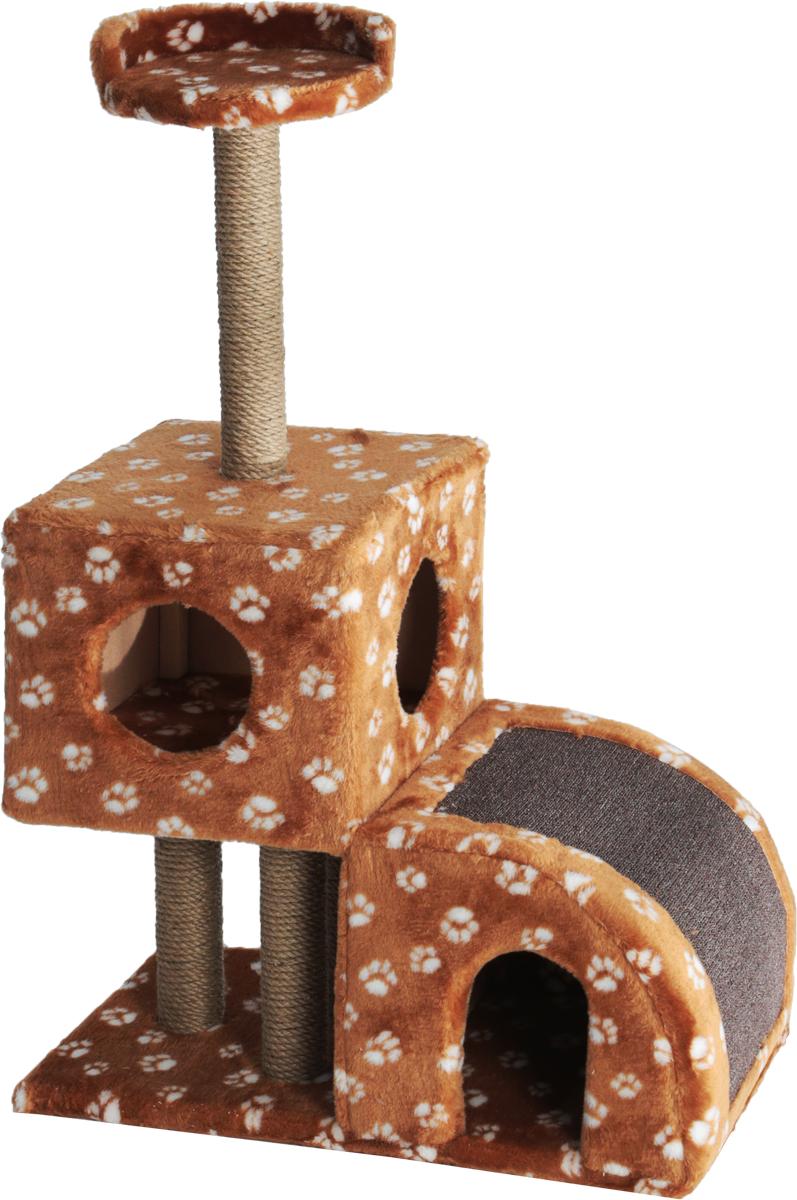 Домик-когтеточка Меридиан, двухуровневый, цвет: коричневый, белый, бежевый, 71 х 36 х 110 см22373Домик-когтеточка Меридиан выполнен из высококачественного ДВП и ДСП и обтянут искусственным мехом. Изделие предназначено для кошек. Ваш домашний питомец будет с удовольствием точить когти о специальные столбики, изготовленные из джута или о горку из ковролина. А отдохнуть он сможет либо на полке, либо в домиках. Домик-когтеточка Меридиан принесет пользу не только вашему питомцу, но и вам, так как он сохранит мебель от когтей и шерсти.Общий размер: 71 х 36 х 110 см.Размер нижнего домика: 36 х 36 х 32 см.Размер верхнего домика: 36 х 36 х 31 см.Размер полки: 26 х 26 см.