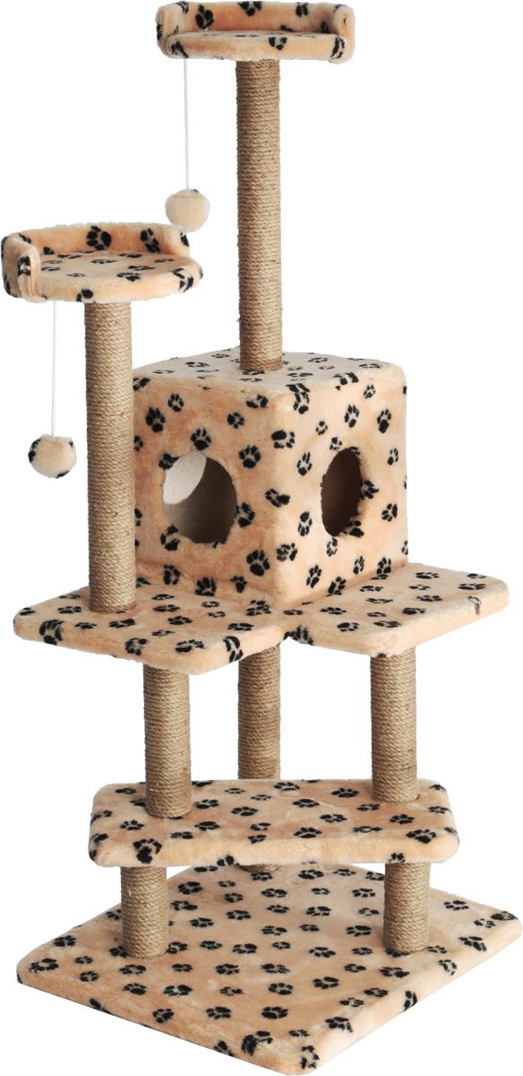 Игровой комплекс для кошек Меридиан Лестница, цвет: бежевый, черный, 56 х 50 х 142 смК703Ла_серый, желтыйИгровой комплекс для кошек Меридиан Лестница выполнен из высококачественного ДВП и ДСП и обтянут искусственным мехом. Изделие предназначено для кошек. Ваш домашний питомец будет с удовольствием точить когти о специальные столбики, изготовленные из джута. А отдохнуть он сможет либо на полках, либо в домике. Общий размер: 56 х 50 х 142 см.Размер верхних полок: 27 х 27 см.Размер домика: 31 х 31 х 32 см.