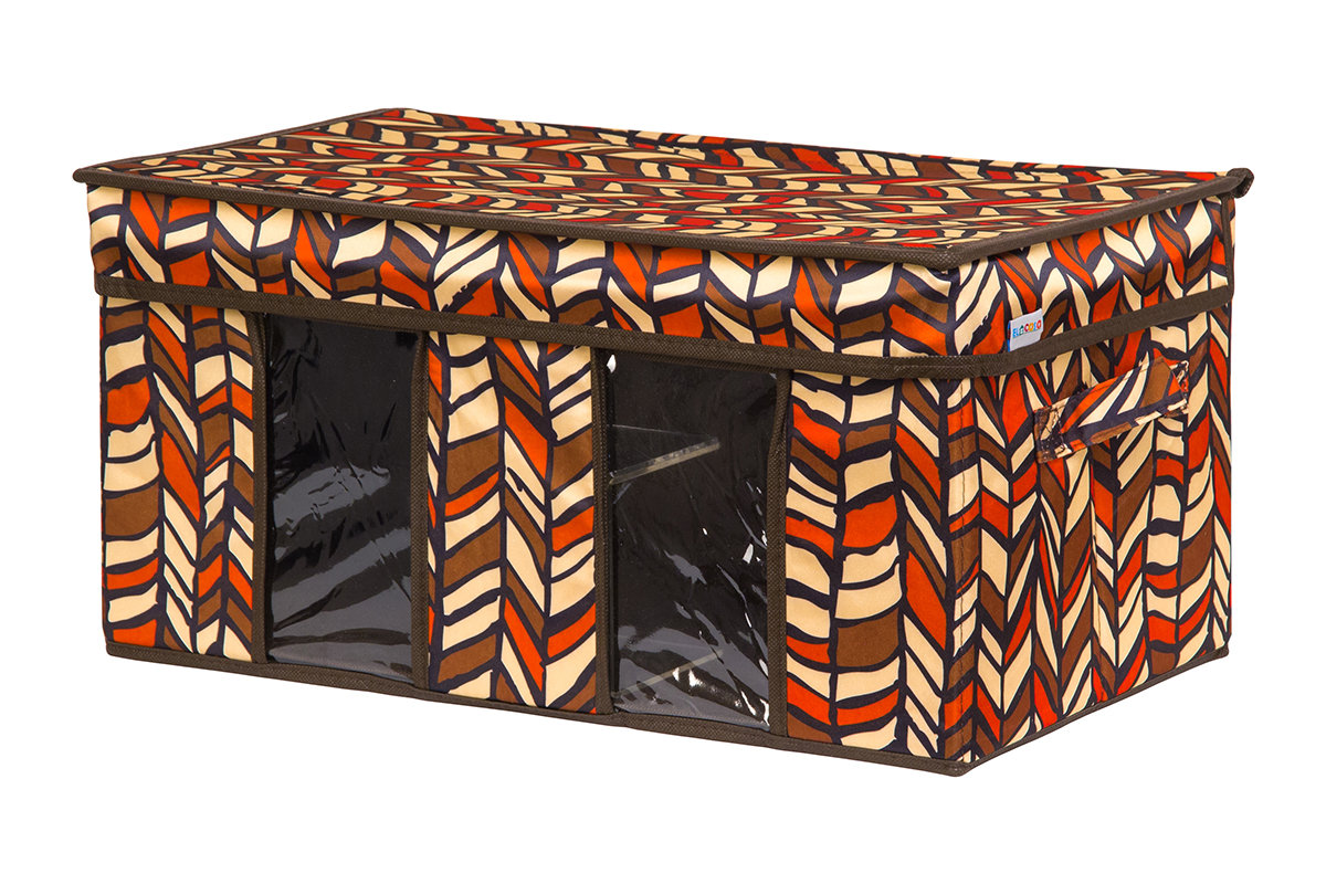 Кофр для хранения вещей EL Casa Африка, складной, 50 х 29 х 24 смCLP446Вместительный кофр для хранения одежды и домашнего текстиля с 2 ручками. Прозрачные вставки позволяют видеть содержимое кофра. Благодаря эстетичному дизайну кофр гармонично смотрится в любом интерьере.
