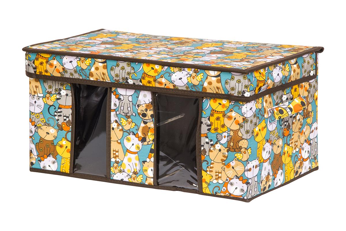 Кофр для хранения вещей EL Casa Котята на бирюзовом, складной, 50 х 29 х 24 см1004900000360Вместительный кофр для хранения одежды и домашнего текстиля с 2 ручками. Прозрачные вставки позволяют видеть содержимое кофра. Благодаря эстетичному дизайну кофр гармонично смотрится в любом интерьере.