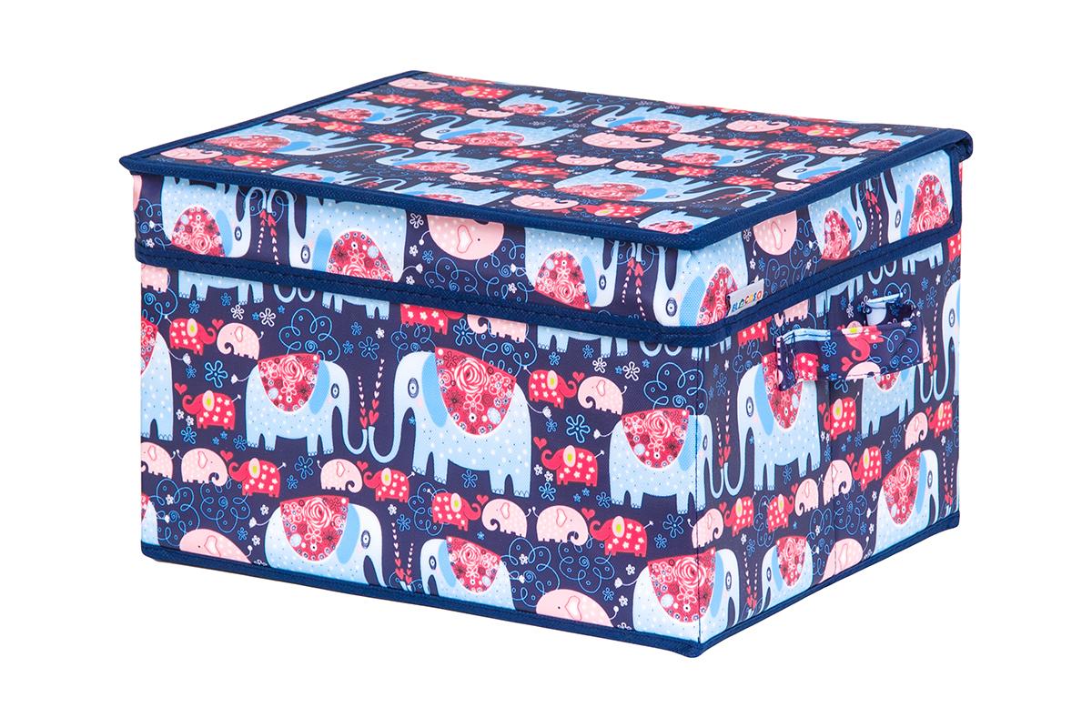 Кофр для хранения вещей EL Casa Слоники, складной, 32 х 27 х 20 смS03301004Кофр для хранения представляет собой закрывающуюся крышкой коробку жесткой конструкции, благодаря наличию внутри плотных листов картона. Специально предназначен для защиты Вашей одежды от воздействия негативных внешних факторов: влаги и сырости, моли, выгорания, грязи. Благодаря оригинальному дизайну кофр будет гармонично смотреться в любом интерьере.