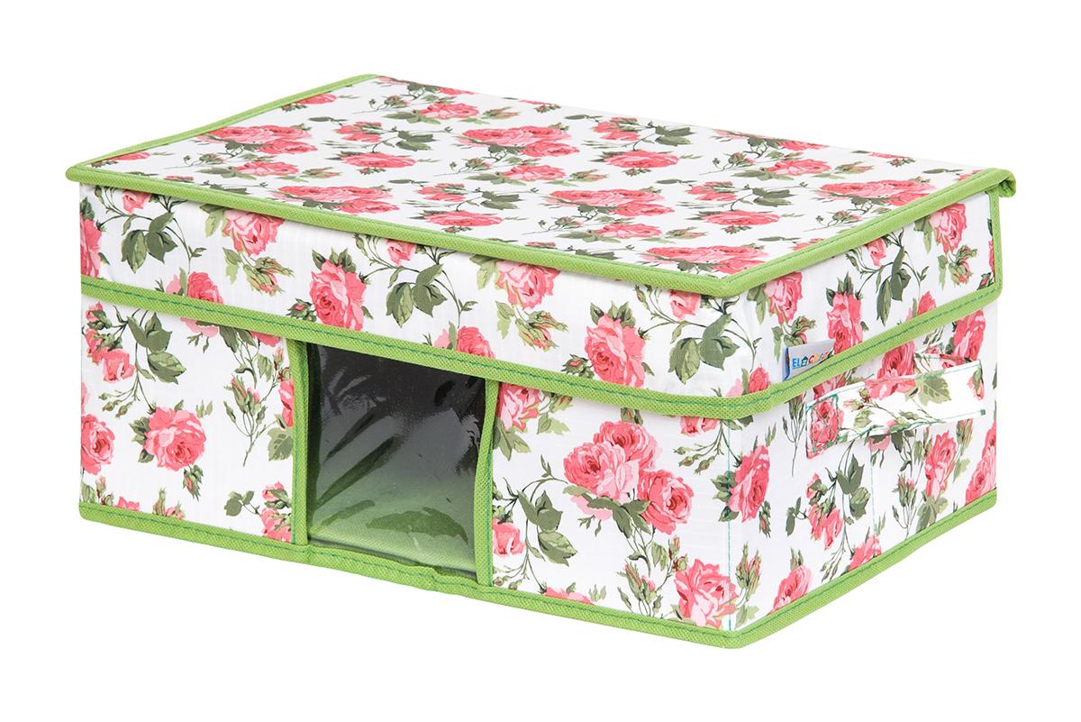 Кофр для хранения вещей EL Casa Розовый рассвет, складной, 35 х 20 х 16 смV4140/1SКофр для хранения с ручками. Прозрачная вставка позволяет видеть содержимое кофра. Благодаря эстетичному дизайну кофр гармонично смотрится в любом интерьере.