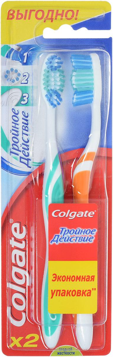 Colgate Зубная щетка Тройное действие, средняя жесткость, цвет: зеленый, оранжевый, 2 шт5010777139655Colgate Тройное действие - зубная щетка средней жесткости. Щетинки всесторонней чистки способствуют бережному очищению зубного налета, возвращая зубам естественную белизну. Поверхность для чистки языка обеспечивает свежее дыхание.Эргономичная рифленая ручка не скользит в ладони, амортизирует давление руки на нежную поверхность десен. Товар сертифицирован.