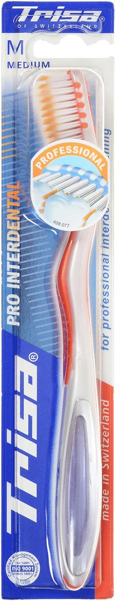 Trisa Зубная щетка Pro Interdental, средняя жесткость, цвет: оранжевыйMP59.4DЗубная щетка Trisa Pro Interdental средней степени жесткости щетины превосходно чистит зубы и межзубные промежутки. Такая щетка особенно удобна в эксплуатации. Благодаря оригинальной форме щетинок, очищаются одновременно поверхность и межзубной промежуток, а короткие щетинки специальной формы удаляют зубной налет и предотвращают его появление. У щетки очень удобная форма ручки, которая обеспечивает отличный упор для большого пальца и не позволяет щетке выскальзывать во время использования.