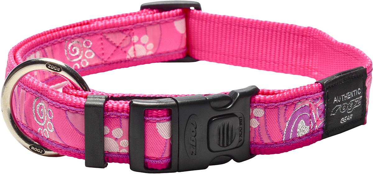 Ошейник для собак Rogz Fancy Dress, цвет: розовый, ширина 2,5 см0120710Ошейник для собак Rogz Fancy Dress имеет необычный дизайн. Широкая гамма потрясающе красивых орнаментов на прочной тесьме поверх нейлоновой ленты украсит вашего питомца. Специальная конструкция пряжки Rog Loc - очень крепкая (система Fort Knox). Замок может быть расстегнут только рукой человека. Технология распределения нагрузки позволяет снизить нагрузку на пряжки, изготовленные из титанового пластика, с помощью правильного и разумного расположения грузовых колец.Особые контурные пластиковые компоненты. Специальная округлая форма конструкции позволяет ошейнику комфортно облегать шею собаки. Выполненные по заказу литые кольца имеют хромирование, нанесенное гальваническим способом, что позволяет избежать коррозии и потускнения изделия.
