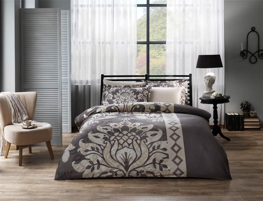 Комплект белья TAC Claudia, 2-спальный, наволочки 50х70 см, цвет: серый, бежевый391602Роскошный комплект постельного белья TAC Claudia выполнен из качественного плотногосатина и декорирован красочным принтом. Комплект состоит из пододеяльника, простыни идвух наволочек. Пододеяльник застегивается на пуговицы.Сатин - гладкая и прочная ткань, которая своим блеском, легкостью и гладкостью похожа нашелк, но выгодно отличается от него в цене. Сатин практически не мнется, поэтому его можноне гладить. Ко всему прочему, он весьма практичен, так как хорошо переносит множественныестирки. Доверьте заботу о качестве вашего сна высококачественному натуральному материалу.