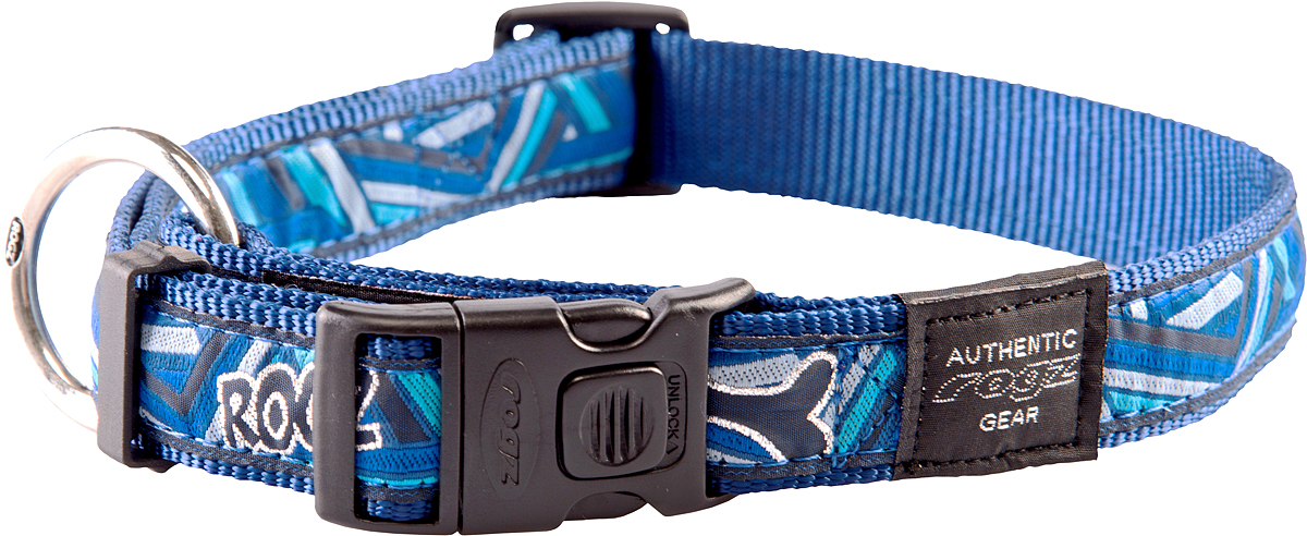 Ошейник для собак Rogz Fancy Dress, цвет: голубой, ширина 2,5 смро16чОшейник для собак Rogz Fancy Dress имеет необычный дизайн. Широкая гамма потрясающе красивых орнаментов на прочной тесьме поверх нейлоновой ленты украсит вашего питомца. Специальная конструкция пряжки Rog Loc - очень крепкая (система Fort Knox). Замок может быть расстегнут только рукой человека. Технология распределения нагрузки позволяет снизить нагрузку на пряжки, изготовленные из титанового пластика, с помощью правильного и разумного расположения грузовых колец.Особые контурные пластиковые компоненты. Специальная округлая форма конструкции позволяет ошейнику комфортно облегать шею собаки. Выполненные по заказу литые кольца имеют хромирование, нанесенное гальваническим способом, что позволяет избежать коррозии и потускнения изделия.