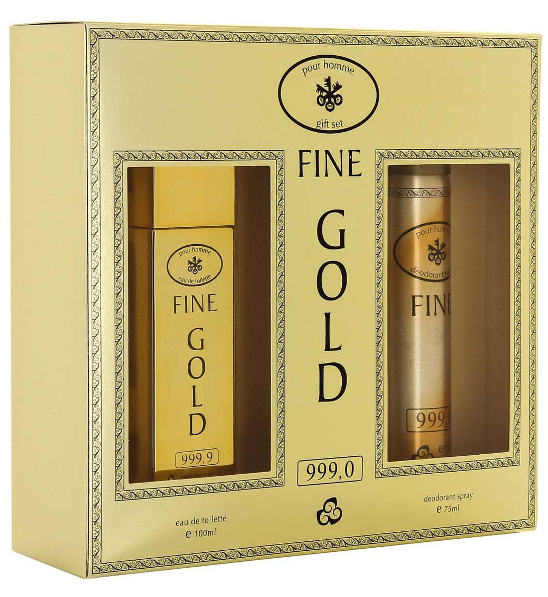 КПК-Парфюм Подарочный набор для мужчин Fine Gold: Туалетная вода, 100 мл + Парфюмированный дезодорант, 75 млGESS-306FINE GOLD это аромат для мужчин. Верхние ноты: грейпфрут, мята и красный мандарин; ноты сердца: роза, корица и специи; ноты базы: кожа, древесные ноты, амбра и пачули из Индии.