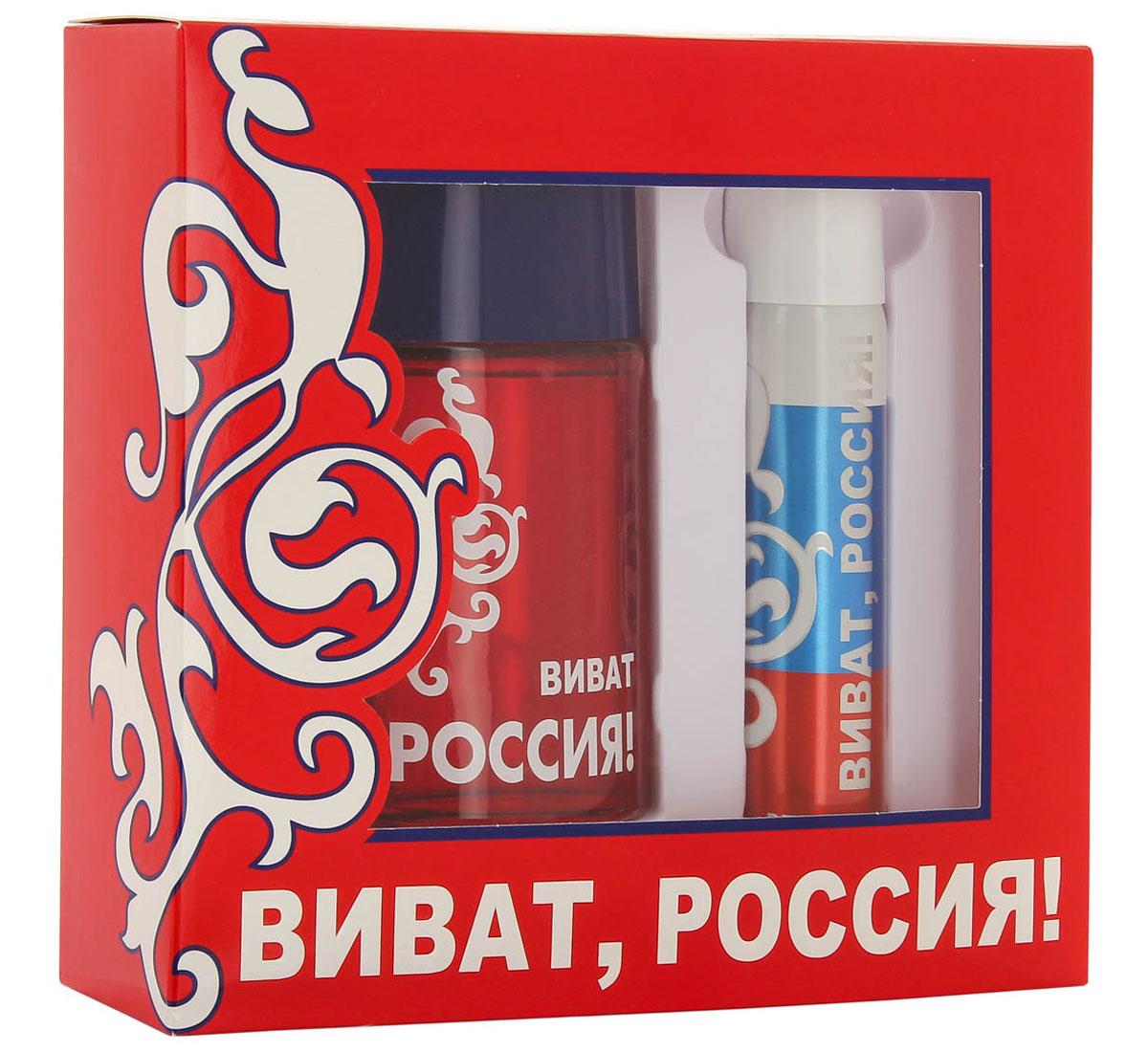 КПК-Парфюм Подарочный набор для мужчин Виват Россия красный: Туалетная вода, 100 мл + Парфюмированный дезодорант, 75 мл1301210ВИВАТ РОССИЯ КРАСНЫЙ - это аромат для мужчин. Верхние ноты: грейпфрут, мята и красный мандарин; ноты сердца: роза, корица и специи; ноты базы: кожа, древесные ноты, амбра и пачули из Индии.